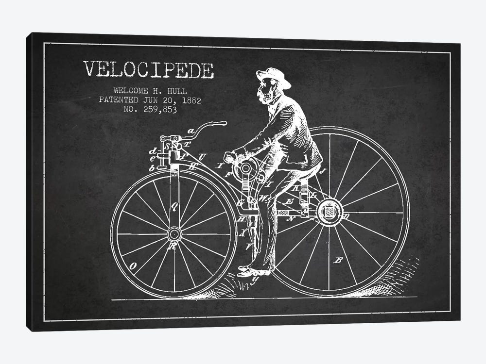 Hull Bike Charcoal Patent Blueprint by Aged Pixel 1-piece Canvas Wall Art