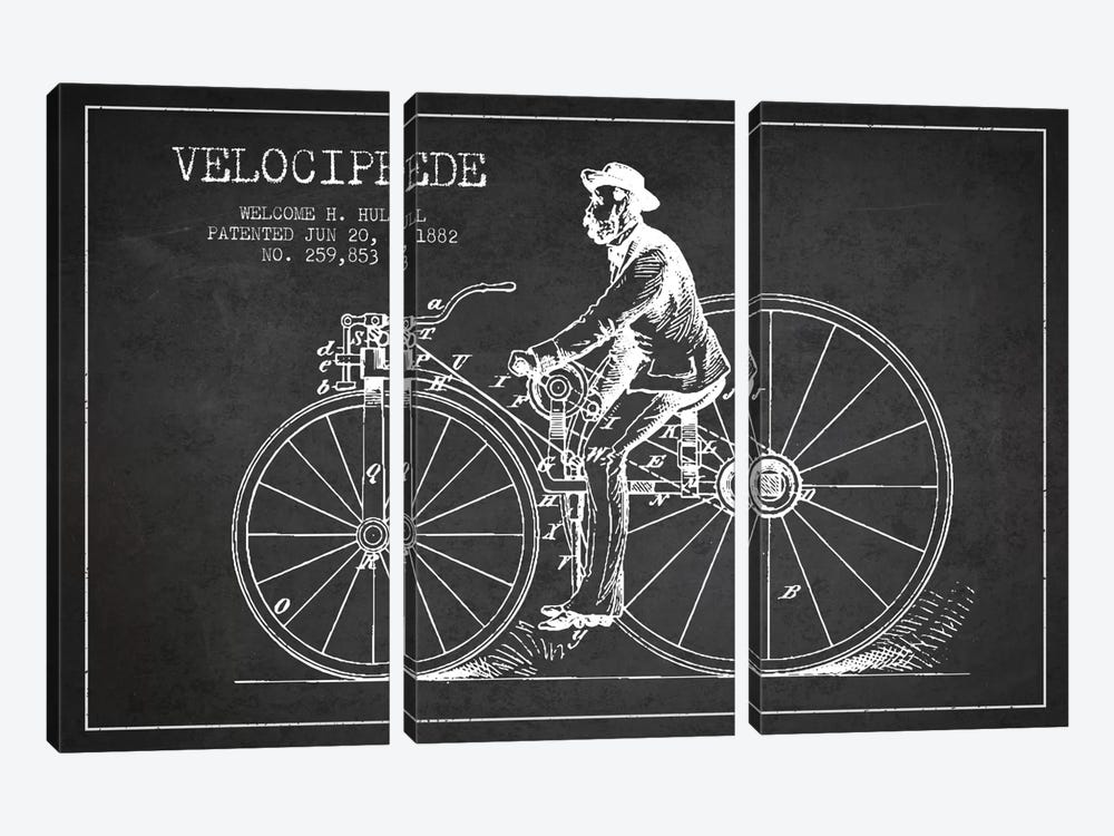 Hull Bike Charcoal Patent Blueprint 3-piece Canvas Artwork