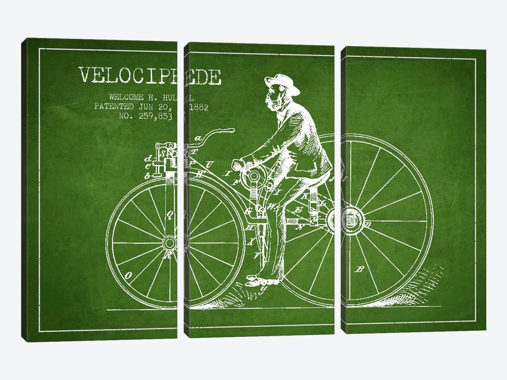 Hull Bike Green Patent Blueprint by Aged Pixel 3-piece Canvas Print
