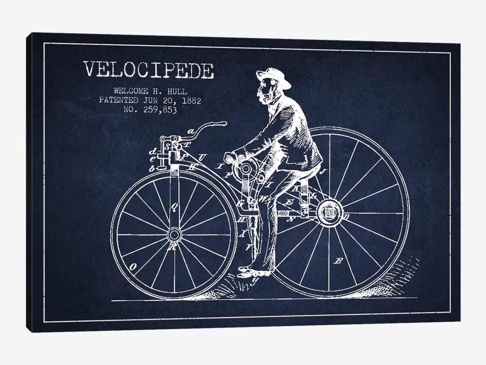 Hull Bike Navy Blue Patent Blueprint by Aged Pixel 1-piece Canvas Artwork