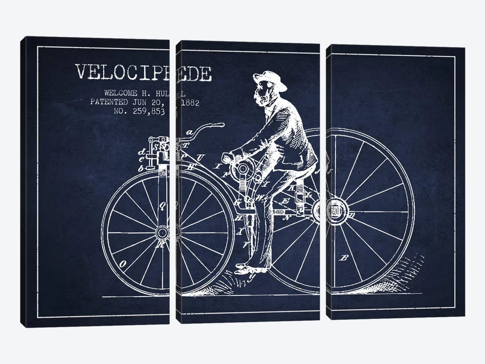 Hull Bike Navy Blue Patent Blueprint by Aged Pixel 3-piece Canvas Artwork