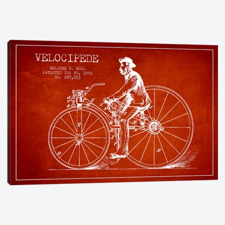 Hull Bike Red Patent Blueprint Canvas Print #ADP2583} by Aged Pixel Art Print