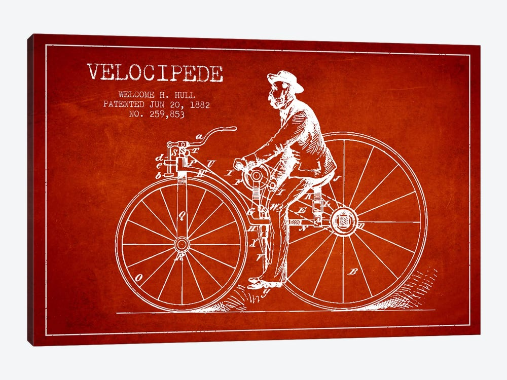 Hull Bike Red Patent Blueprint by Aged Pixel 1-piece Canvas Print