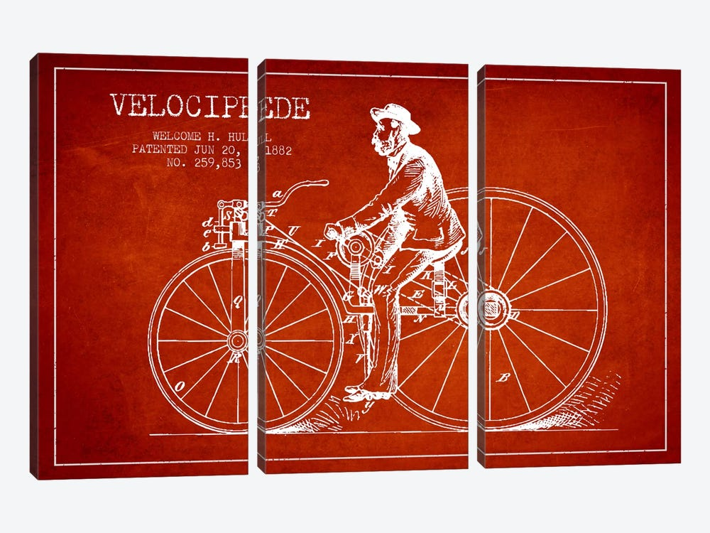 Hull Bike Red Patent Blueprint by Aged Pixel 3-piece Canvas Print