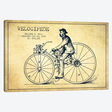 Hull Bike Vintage Patent Blueprint Canvas Print #ADP2584} by Aged Pixel Canvas Artwork