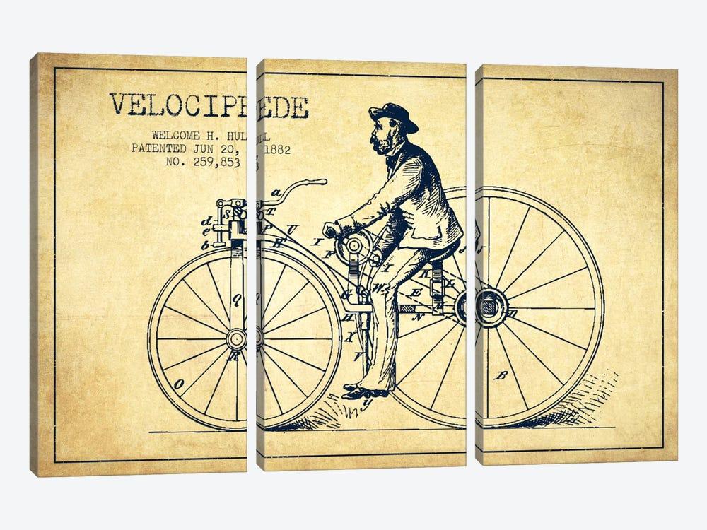 Hull Bike Vintage Patent Blueprint by Aged Pixel 3-piece Canvas Art