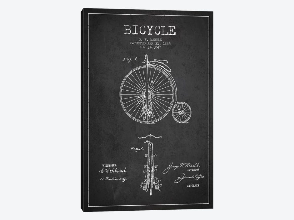 Marble Bike Charcoal Patent Blueprint by Aged Pixel 1-piece Canvas Print
