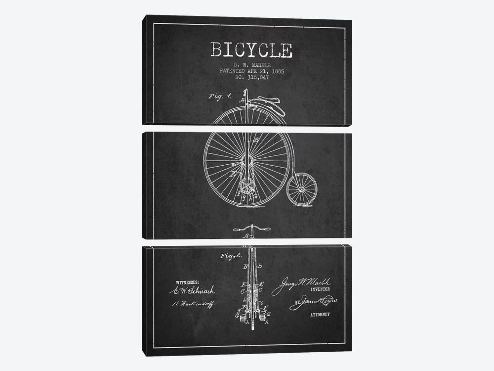 Marble Bike Charcoal Patent Blueprint by Aged Pixel 3-piece Art Print