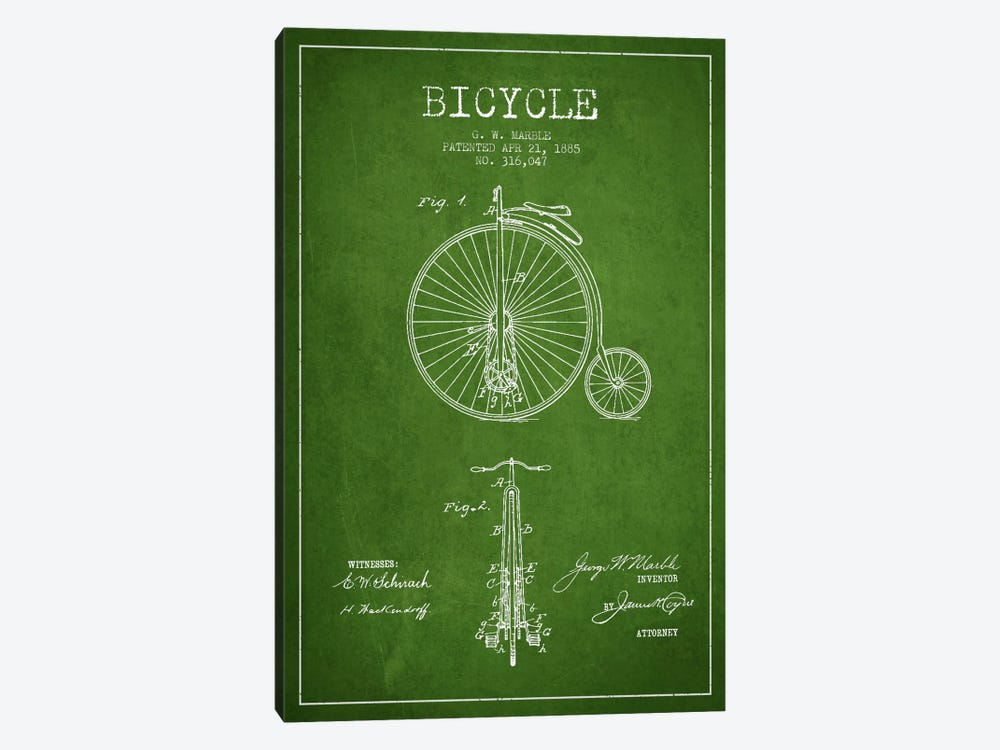 Marble Bike Green Patent Blueprint by Aged Pixel 1-piece Canvas Art