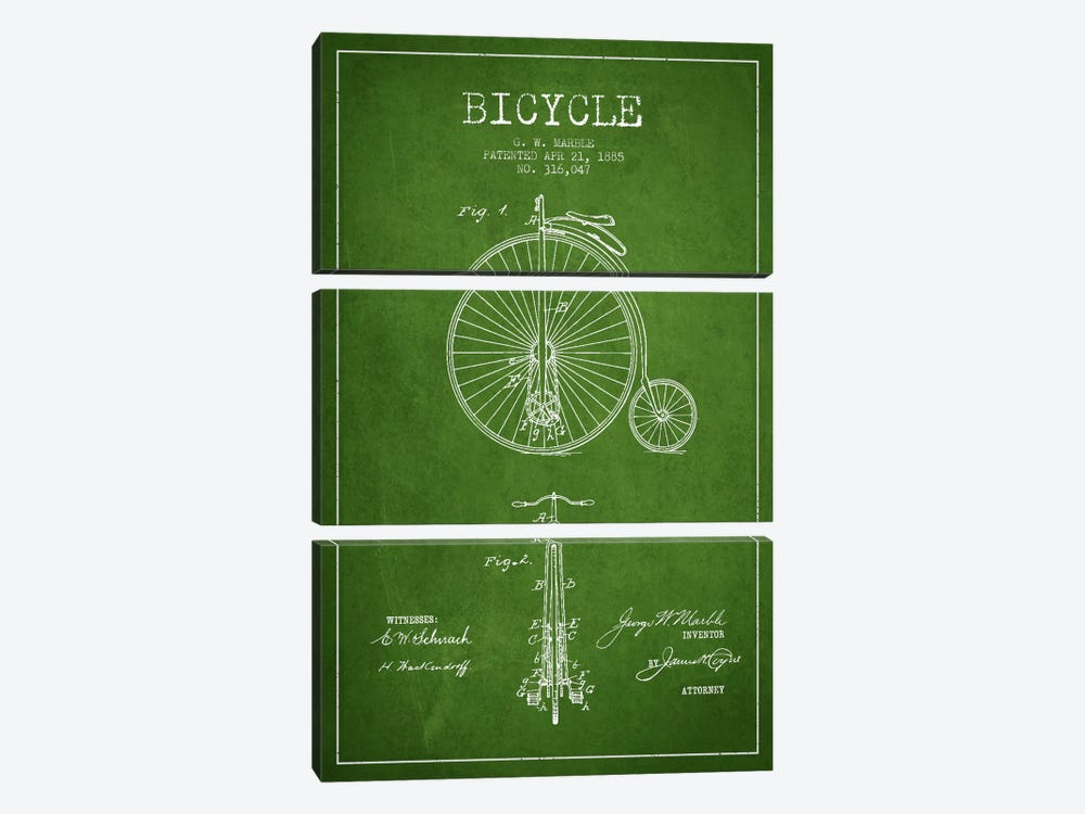 Marble Bike Green Patent Blueprint by Aged Pixel 3-piece Canvas Art