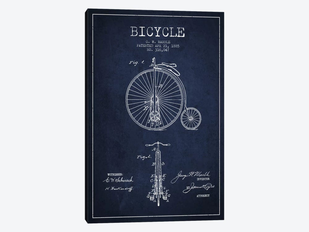 Marble Bike Navy Blue Patent Blueprint by Aged Pixel 1-piece Art Print