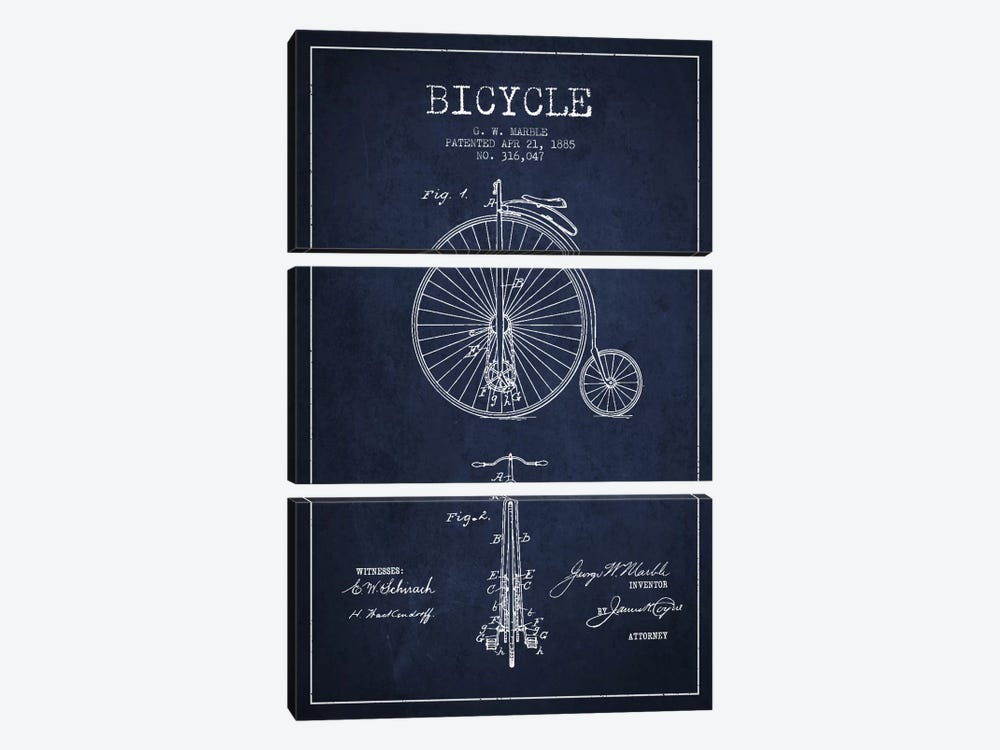 Marble Bike Navy Blue Patent Blueprint by Aged Pixel 3-piece Art Print