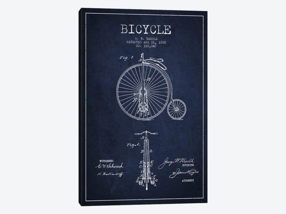 Marble Bike Navy Blue Patent Blueprint by Aged Pixel 1-piece Art Print