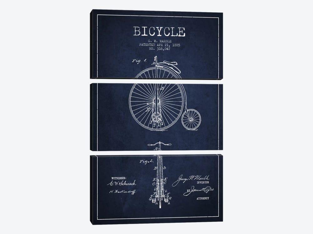 Marble Bike Navy Blue Patent Blueprint by Aged Pixel 3-piece Art Print