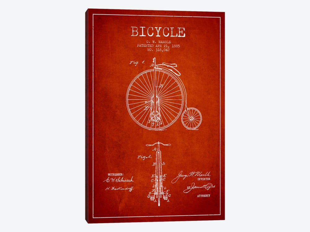 Marble Bike Red Patent Blueprint by Aged Pixel 1-piece Canvas Artwork