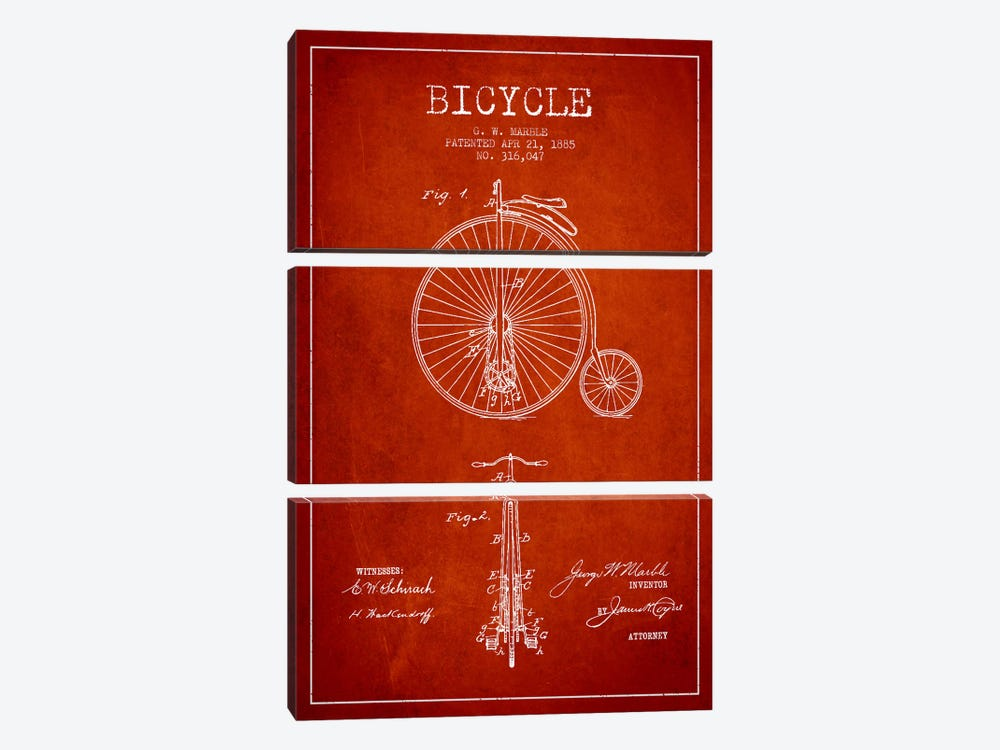 Marble Bike Red Patent Blueprint by Aged Pixel 3-piece Canvas Wall Art