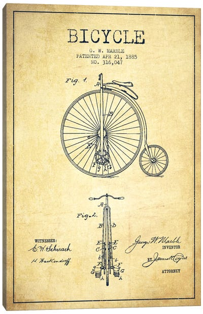 Marble Bike Vintage Patent Blueprint Canvas Print #ADP2589