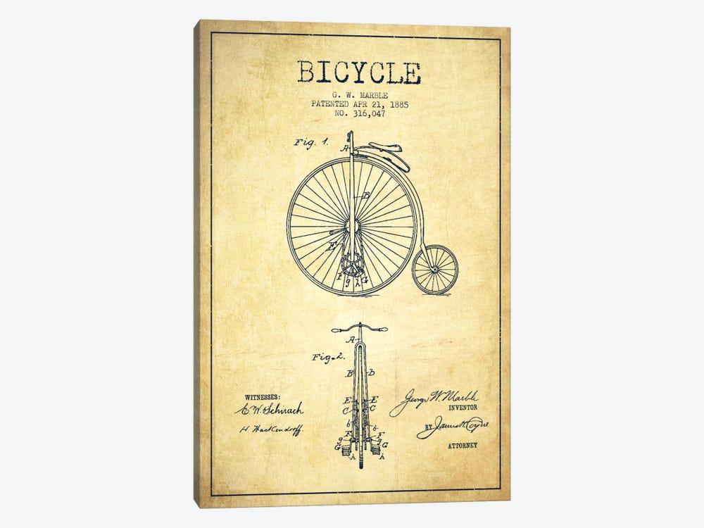 Marble Bike Vintage Patent Blueprint by Aged Pixel 1-piece Canvas Art Print