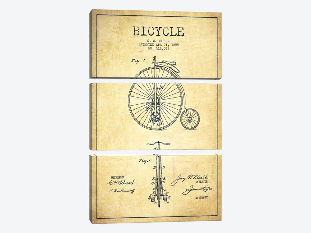 Marble Bike Vintage Patent Blueprint by Aged Pixel 3-piece Canvas Art Print