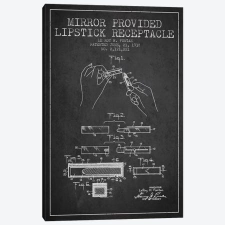 Mirror Provided Lipstick Charcoal Patent Blueprint Canvas Print #ADP258} by Aged Pixel Canvas Art