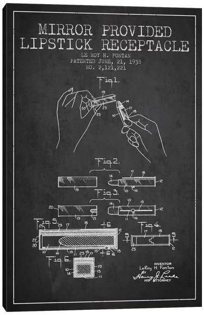 Mirror Provided Lipstick Charcoal Patent Blueprint Canvas Art Print