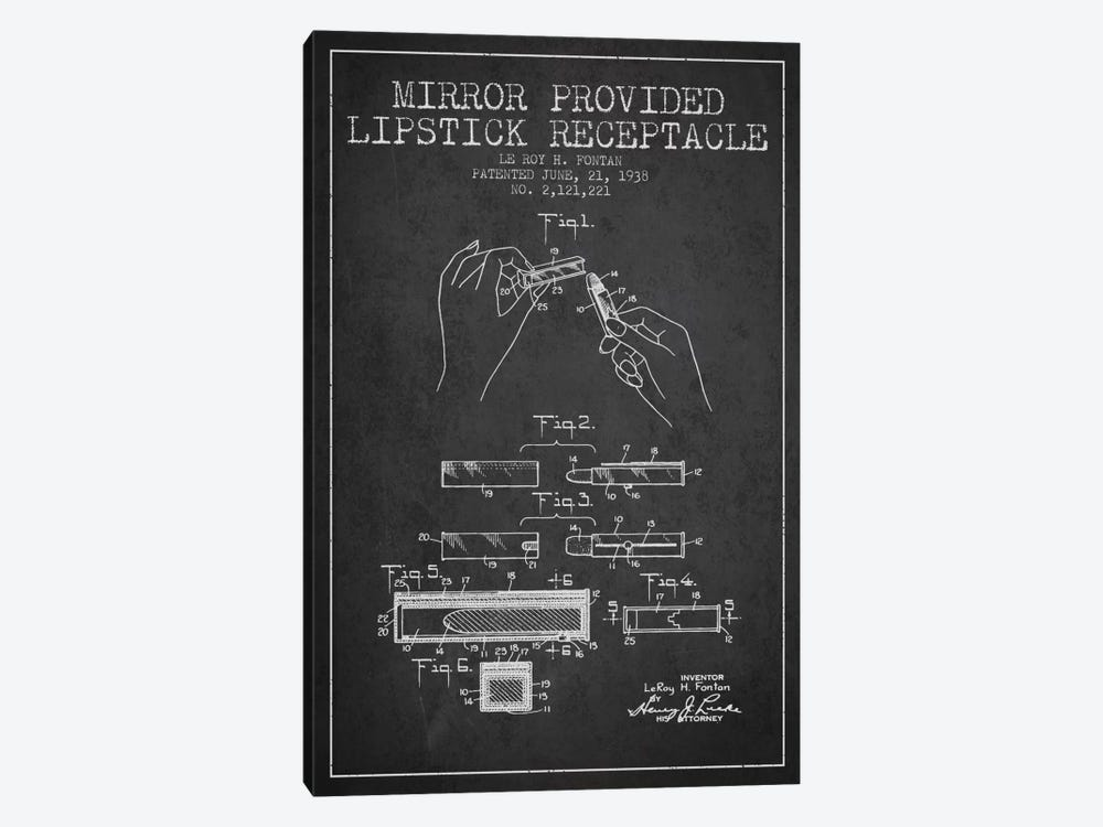 Mirror Provided Lipstick Charcoal Patent Blueprint by Aged Pixel 1-piece Canvas Art Print