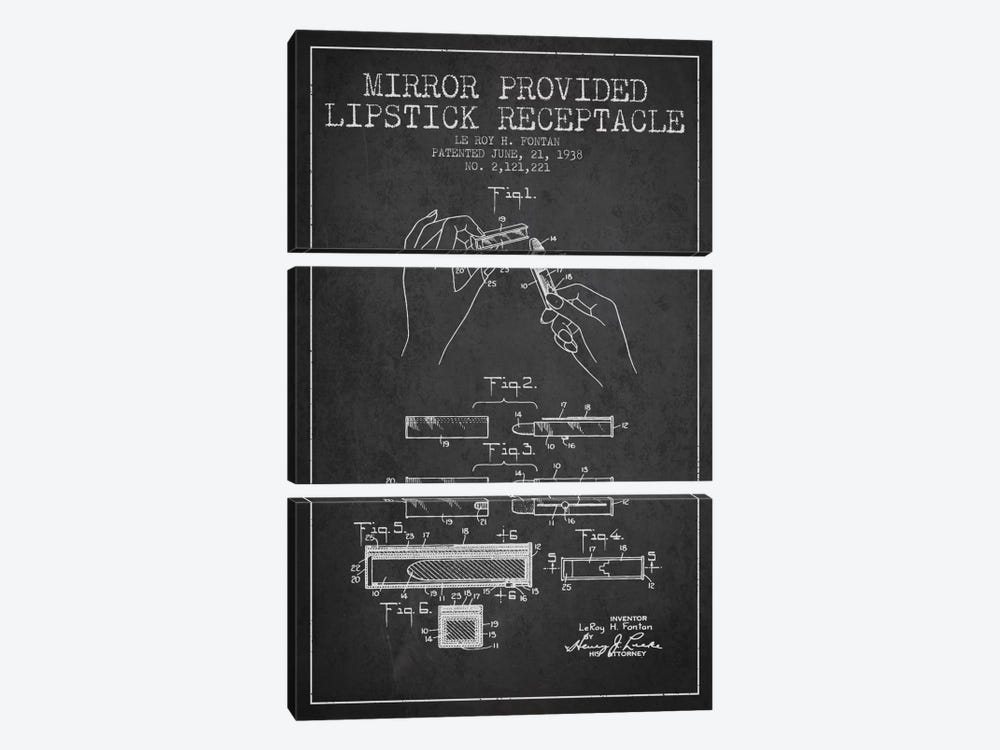 Mirror Provided Lipstick Charcoal Patent Blueprint by Aged Pixel 3-piece Art Print