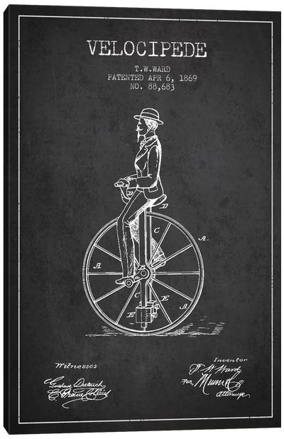 Ward Velocipede Charcoal Patent Blueprint Canvas Art Print