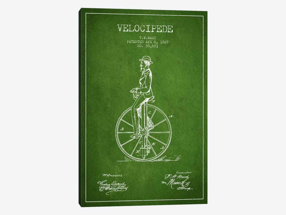 Ward Velocipede Green Patent Blueprint by Aged Pixel 1-piece Canvas Artwork