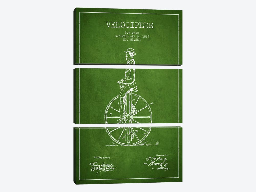 Ward Velocipede Green Patent Blueprint by Aged Pixel 3-piece Canvas Art