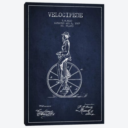 Ward Velocipede Navy Blue Patent Blueprint Canvas Print #ADP2592} by Aged Pixel Canvas Artwork
