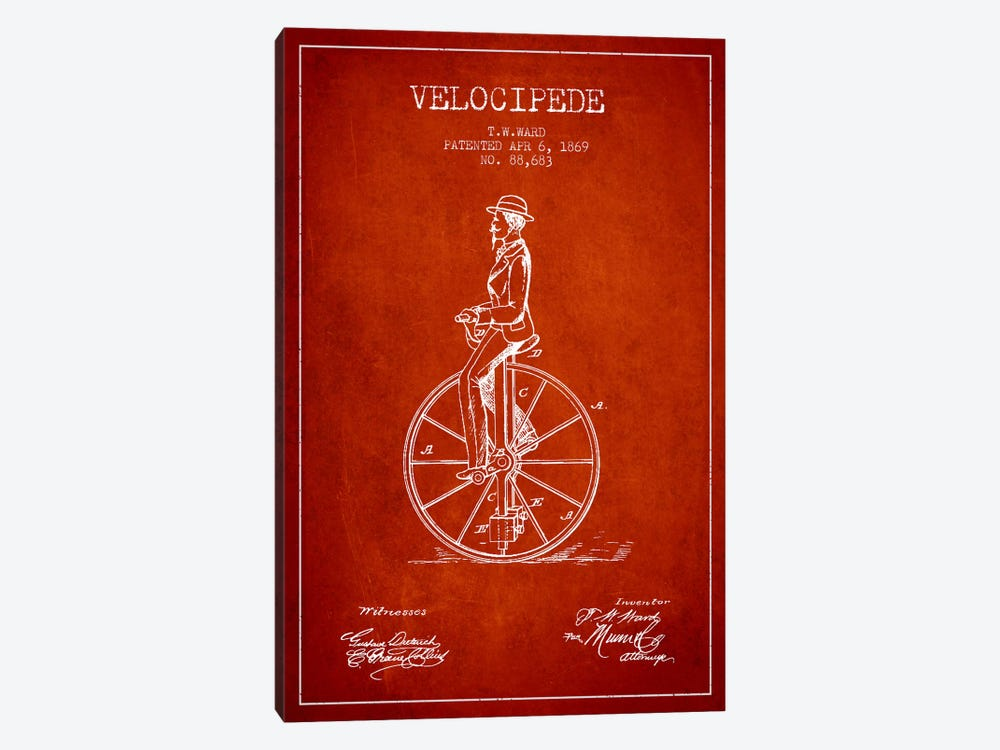Ward Velocipede Red Patent Blueprint by Aged Pixel 1-piece Canvas Art