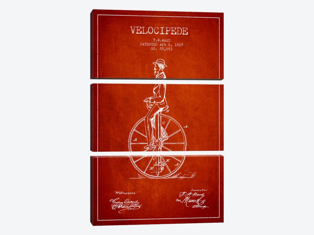 Ward Velocipede Red Patent Blueprint by Aged Pixel 3-piece Canvas Wall Art