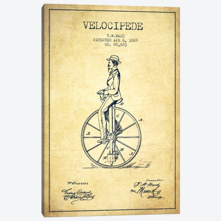Ward Velocipede Vintage Patent Blueprint Canvas Print #ADP2594} by Aged Pixel Canvas Art Print