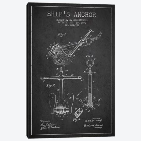 Anchor Charcoal Patent Blueprint Canvas Print #ADP2595} by Aged Pixel Canvas Art Print
