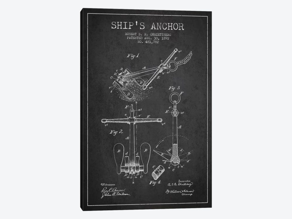 Anchor Charcoal Patent Blueprint by Aged Pixel 1-piece Canvas Wall Art