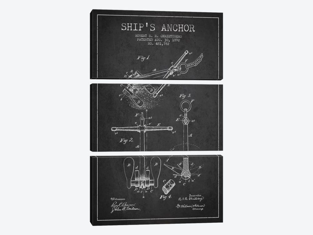 Anchor Charcoal Patent Blueprint by Aged Pixel 3-piece Canvas Art