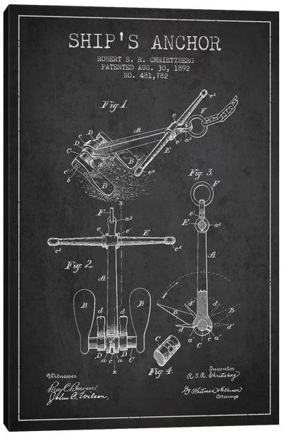 Anchor Charcoal Patent Blueprint Canvas Art Print