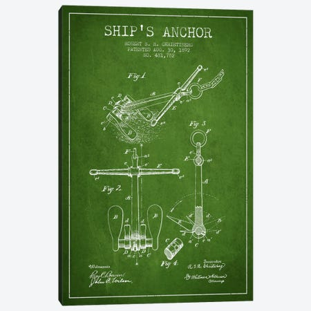 Anchor Green Patent Blueprint Canvas Print #ADP2596} by Aged Pixel Canvas Art Print