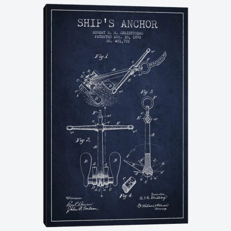 Anchor Navy Blue Patent Blueprint Canvas Print #ADP2597} by Aged Pixel Art Print
