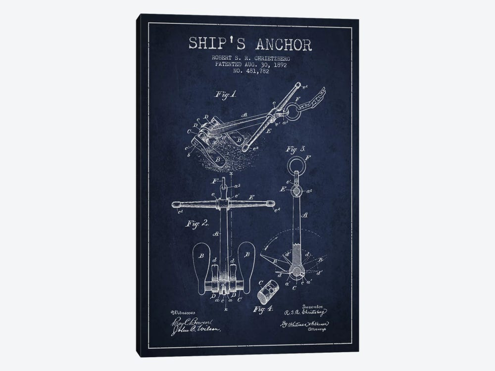 Anchor Navy Blue Patent Blueprint by Aged Pixel 1-piece Canvas Artwork
