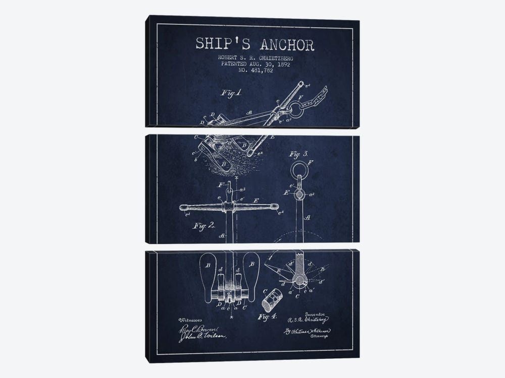 Anchor Navy Blue Patent Blueprint by Aged Pixel 3-piece Canvas Art