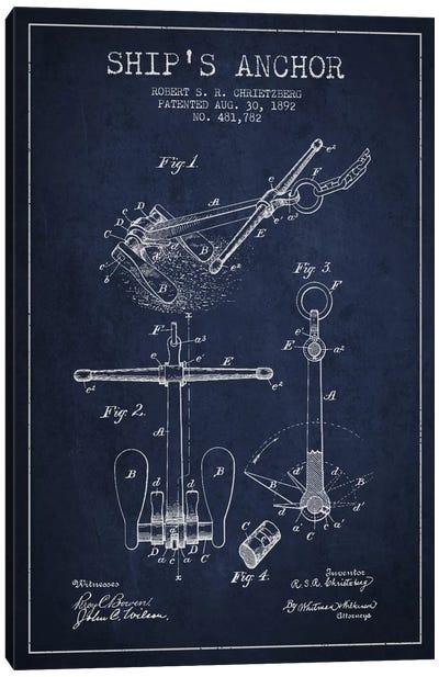 Anchor Navy Blue Patent Blueprint Canvas Art Print