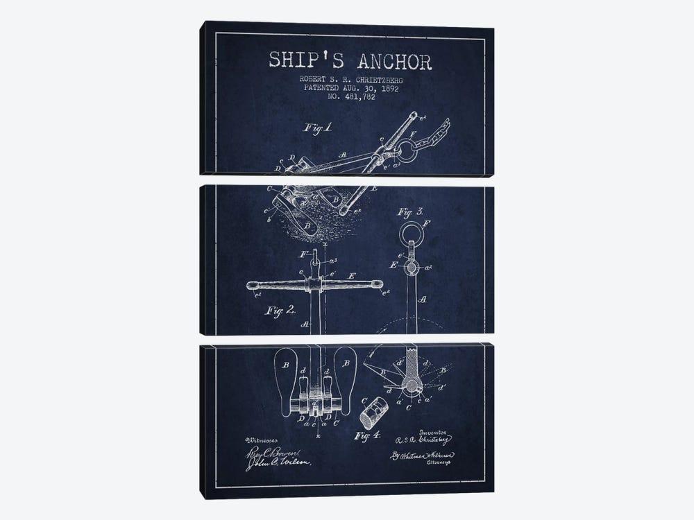 Anchor Navy Blue Patent Blueprint by Aged Pixel 3-piece Canvas Art