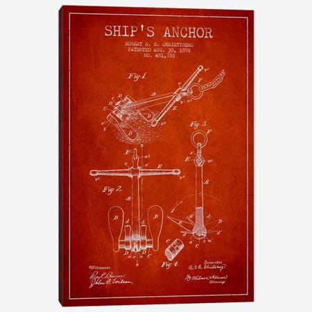 Anchor Red Patent Blueprint Canvas Print #ADP2598} by Aged Pixel Canvas Art
