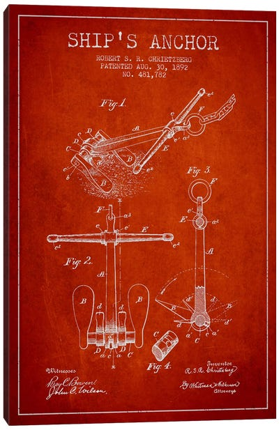 Anchor Red Patent Blueprint Canvas Art Print