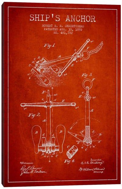 Anchor Red Patent Blueprint Canvas Art Print