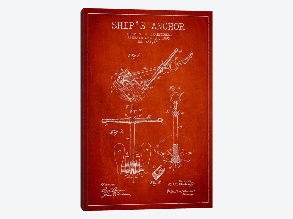 Anchor Red Patent Blueprint by Aged Pixel 1-piece Canvas Print