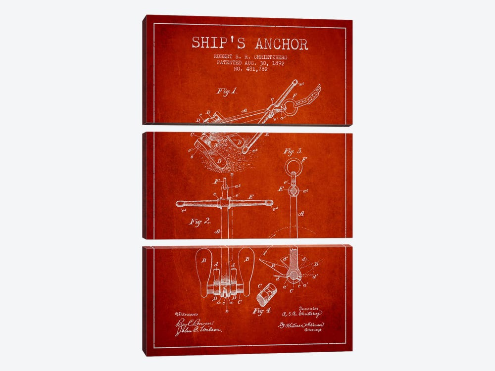 Anchor Red Patent Blueprint by Aged Pixel 3-piece Canvas Art Print