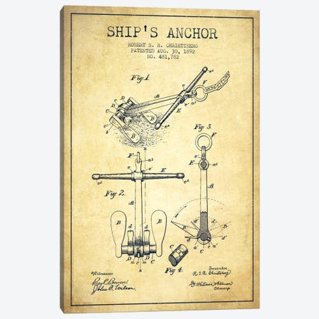 Anchor Vintage Patent Blueprint Canvas Print #ADP2599} by Aged Pixel Canvas Art